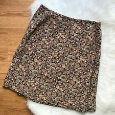 Merona Womens Silk Wrap Skirt Size 8 Black Paisley