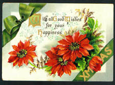 1911 Vintage BB London Christmas Poinsettas bright & embossed Postcard Series X1