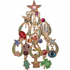 Life Christmas Tree Pin Goldtone New Kirks Folly Lucky In