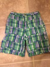 Hartstrings 10 Boys Shorts Dress Preppy Plaid Madras Blue White Green Patchwork