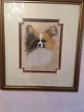 More details for original red r/w papillon butterfly dog toy spaniel oil pastel painting signed