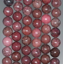 10MM DARK PINK RHODONITE GEMSTONE ROUND LOOSE BEADS 16""