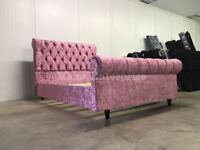 Crushed Velvet Designer Sleigh Bed Chesterfield Baby Dusky Cerise Fuchsia Pink