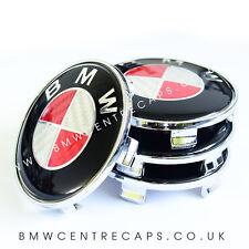 RED & WHITE CARBON FIBER BMW 68mm Alloy Wheel Centre Caps x4  NEW 2017