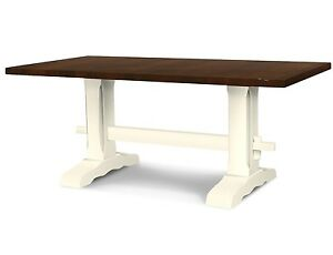 Colonial Harvest Trestle Table (Rustic Harvest Farmhouse Kitchen Dinning Table)