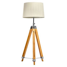 New Oriental Raleigh Tripod Floor Lamp w/ Extendable in height Beige Linen Shade