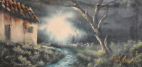 ANTIQUE IMPRESSIONIST OIL PAINTING FOREST LANDSCAPE HOUSE SIGNED