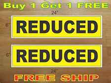 "REDUCED Yellow & Black 6""x24"" REAL ESTATE RIDER SIGNS Buy 1 Get 1 FREE 2 Sided"