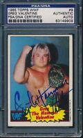 1985 TOPPS WWF GREG VALENTINE SIGNED VINTAGE AUTO CARD #9 PSA/DNA