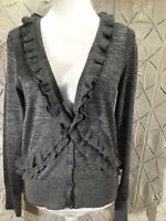 J. Crew Merino Wool Alpaca Blend Sweater Gray Size Large Long Sleeve Button Up