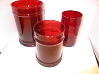 Depression Glass Anchor Hocking Royal Ruby Red Candy Jar Set of 3 no lids