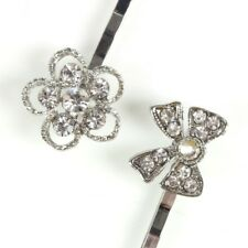 SILVER DIAMANTE HAIR GRIPS Bow Bridal Floral Slides Wedding Prom Sparkle Party
