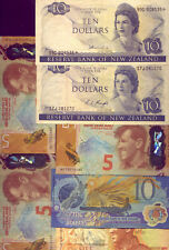 NEW ZEALAND:7 x $10 & $5  BANK NOTES: ALL DIFFERENT VF-UNC  NO  RESERVE !!