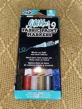 Glitter Fabric Paint Markers White Gold Red Silver Black Blue