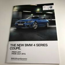 BMW 4 SERIES COUPE - BROCHURE PRICE LIST 2013