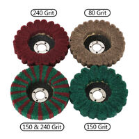 "100mm 4"" Nylon Fiber Flap Wheel Polishing Pad Abrasive Buffing for Angle Grinder"