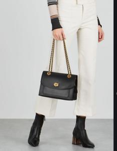 COACH Parker Crossbody bag grained cow leather black Authentic