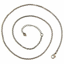 """Silver Brass Rose Gold Thin Circle Chain Necklace 20"""" Adjustable DIY Material"""