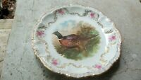 Antique Porcelain Moschendorf Pheasant Cabinet Plate Made in Bavaria Germany