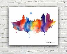 "Amsterdam Skyline Watercolor Painting 11"" x 14"" Art Print by Artist DJ Rogers"