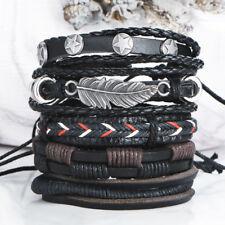 New 5 piece Adjustable Braided Star Feather Punk Bohemian Leather Bracelet