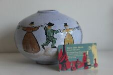 Cathy SAVIGNY Vase Céramique Décor Danse Bretonne era Berthe Savigny Quimper