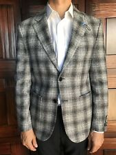 Tailorbyrd Men's Slim Fit Blazer Size 40R in Gray & Black Plaid New Retail $395
