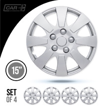 """Set Of 4 Hubcaps 15"""" Wheel Cover Forza Silver ABS Easy To Install Universal Fit"""