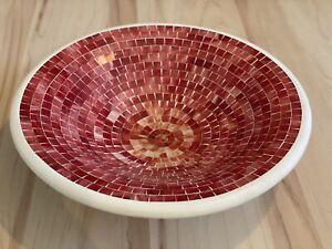 Glasmosaikteller / Obstschale, Ton, rot Ø 38 cm, handgefertigt, Indonesien