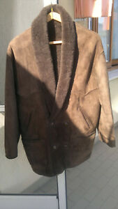 Shearling men's leather lcoat