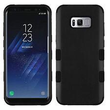 For Samsung Galaxy S8 PLUS BLACK HARD SOFT HYBRID TUFF PROTECTOR SKIN CASE COVER