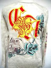 CHRISTIAN  AUDIGIER ED HARDY MENS PLATINUM Lion SIGNATURE TEE SHIRT NWT 2X YLW
