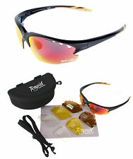 SUNGLASSES FOR CYCLING: MENS Road Bike Glasses With Interchangeable UV Lenses