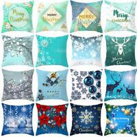 Blue Christmas Cotton linen pillows case throw cushion cover for sofa Home Decor