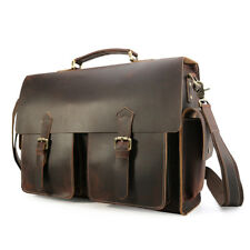 Retro Men's Leather 17'' Laptop Business Briefcase Messenger Shoulder Bag Tote