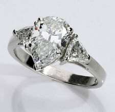 Platinum diamond engagement ring 2.15CT pear brilliant trillions 2.75CTW sz 7.5
