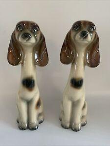 Vintage Ceramic Dogs Pair Jema Holland Tall Retro Mid Century 1950s 1960s