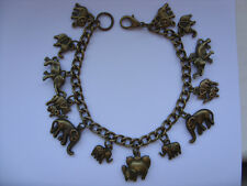 LOVELY Handmade ELEPHANT Bronze Chain Bracelet  with Assorted Bronze Charms