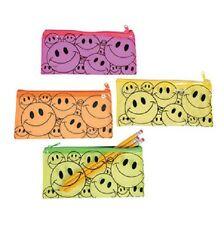 Lot of 12 Vinyl Smile Face Pencil Pouch Cases Party Favors