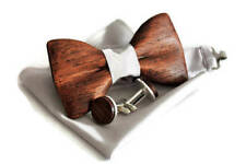 Cufflinks with wooden bow tie with pocket square. Oak wood bowtie and cufflinks.