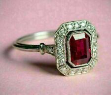 14K White Gold Finish Emerald Cut 2.05 Ct Ruby & Diamond Engagement Wedding Ring