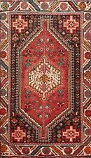 Excellent Vintage Geometric Abadeh Hand-knotted Area Rug Wool Tribal Carpet 3x5
