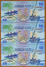 LOT Cook Islands, 3 x $50, 1992, AAA prefix, P-10, UNC