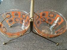 Vintage Gay Fad MCM Mid Century Modern 1950s Glass Bowls Snack Set Argyle