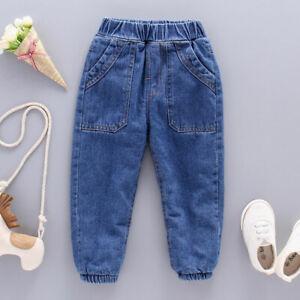 Kids Boys Jeans Denim Fleeced Pants Winter Warm Trousers Casual Loose Trousers