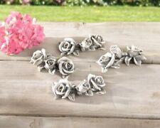 Deko-Blüten Stein-Rosen im 4er Set, steinoptik Polyresin Garten Grabschmuck