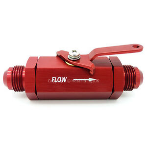AN-4 RED INLINE SHUT OFF VALVE TAP Fuel Oil Cut Switch Petrol Hose Fitting