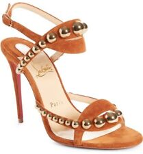 Christian Louboutin Galeria Suede 100 Sandals Tan Bubble Studs PUMPS 37.5 Shoes