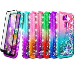 For LG K31 Rebel Case Liquid Glitter Bling Phone Cover +Tempered Glass Protector