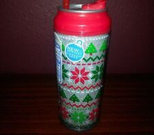 COOL GEAR Christmas Double Wall Insulated Drink Can Twist-Off Red Green Glitter